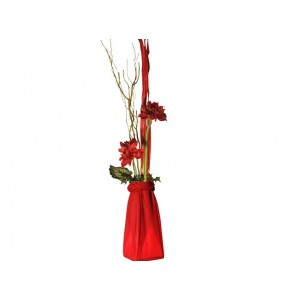 Lampe fleurs rouge