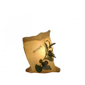 Lampe toile de jute décoration olivier