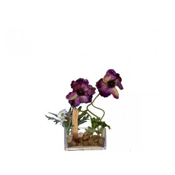 Composition florale mauve incluse avec de la r sine dans un vase en verre - Composition florale vase en verre ...