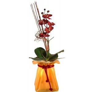 Lampe fleurs saumon ancien modèle
